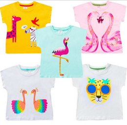 Wholesale zebra t - NEW ARRIVAL Girls Kids Clothes Cotton Short Sleeve pink Animals Zebra Peacock Print T shirt girls causal summer t shirt Free Ship