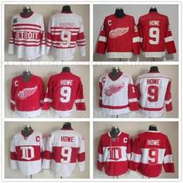 8850c10ce Old Time Detroit Red Wings  9 Gordie Howe Hockey Jerseys Home Red Vintage Winter  Classic Red White Gordie Howe Cheap Stitched C Patch detroit red wing ...