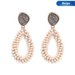 Donne cristallo sfaccettato in rilievo goccia d'acqua a mano grande orecchino lungo pendenti Lady Girl ciondola gli orecchini di fascino gioielli regalo brincos da orecchini indiani in vendita fornitori