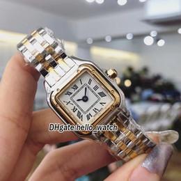Banda de reloj 18k online-Nuevo Panthere W2PN0006 Dial Blanco Japón Reloj de cuarzo para mujer Caja de oro de 18 quilates Dos tonos Banda de acero Zafiro Moda Cristal Relojes