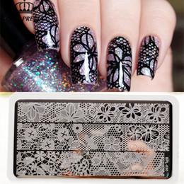 Estampado de uñas de arte x online-NACIDO PRETTY Full Lace Plate Nail Art Sello plantilla Imagen Rectangular Stamping Plates 12 x 6 cm Nail Stamp Plates Set