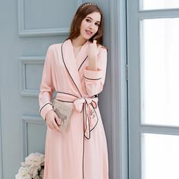 8121f88fc3 QT Brand Women s Robe Princess Pink Cotton Bathrobes Spring Summer Long- Sleeve Sleeping Robes Elegant Lady Sleepwear 2736