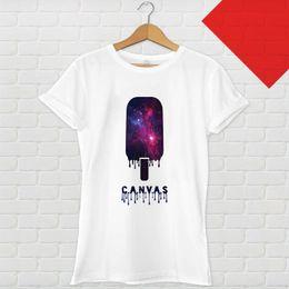 2019 chemise à col galaxie Galaxy Fly - Crème glacée T-shirt blanc T-shirt imprimé D Harajuku T-shirt à manches courtes pour hommes Top en coton classique pour hommes Col rond manches courtes Camisas chemise à col galaxie pas cher