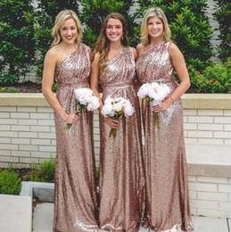 T-shirt unter schulter online-NEUE ANKUNFT Schulter Pailletten Rose Gold Brautjungfernkleider für Hochzeit unter 100