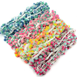 Wholesale lace trim for sewing - 50m Lot 1.2Cm Colorful Pom Pom Trim Ball Fringe Ribbon DIY Sewing Accessory Lace For Home Party Decoration Tape Supplies Hot Sale