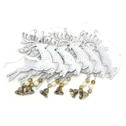 Wholesale red reindeer - Christmas Reindeer Decoration 6pcs White Reindeer Metal Bell Wall Hanging 3 .9in For Home Christmas Elk Decor Tree Decorations
