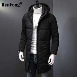 Nuevo para hombre pato blanco abajo abrigos largos gruesa chaqueta caliente acolchado abrigo con capucha Parkas invierno abrigo de calidad superior verde oscuro negro 5XL desde fabricantes