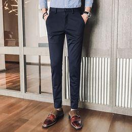 f0861d41387 Men Formal Suit Pants Fashion Slim Fit Business Casual Blazer Straight  Dress Trousers Male Wedding Suit Long Pants Black Blue