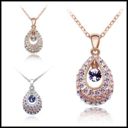 Wholesale Singapore Wedding Gold Jewelry - Fantastic 7 Colors Silver&Gold Chokers 3cm Crystal Diamond Water Drop Pendants Bohemia Styles Jewelry for Party Wedding