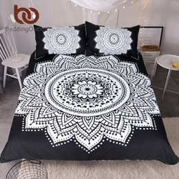 Wholesale Lotus Bedding - BeddingOutlet Mandala Print Bedding Set Queen Size Floral Pattern Duvet Cover Black and White Bohemian Bedclothes Lotus Bed Set