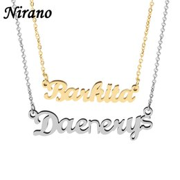 Wholesale Personalized Nameplates - whole saleNirano Personalized Name Choker Necklace & Pendants Gold Color Stainless Steel Custom Necklaces For Gift Nameplate Jewelry