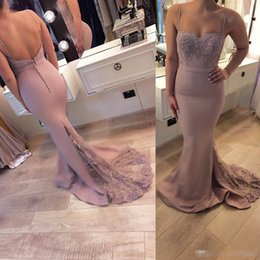 Wholesale designer bandage dresses - Designer Simple Long Evening Dresses With Lace Spaghetti Strap Sweetheart Sleeveless Meramid Evening Gowns Chiffon Prom Dress Custom Made