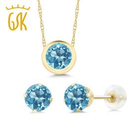 Ensemble bijoux en topaze jaune en Ligne-GemStoneKing ensemble de bijoux en topaze bleue naturelle ronde de 2,70 Ct pour les femmes avec pendentif en or jaune 14K