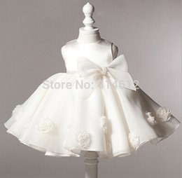 Wholesale American Wells - 2018 crop Baby girl christening dress with a large bow rose the girl well party dress children's clothing baby dress