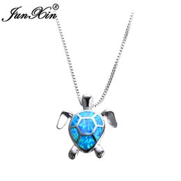 ca77248c37 Junxin Women Blue Opal Turtles Necklace New Fashion Animal Wedding Jewelry  925 Sterling Silver Filled Necklaces Pendants Gift