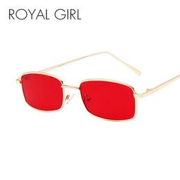 Красные дизайнерские очки онлайн-ROYAL GIRL 2018 Vintage Солнцезащитные Очки Женщины Мужчины Марка Дизайнер Маленький Прямоугольник Красный Желтый Розовый Солнцезащитные Очки Ретро Оттенки ss022