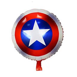 Wholesale heroes theme - hot sale Avengers Alliance Foil Balloons Birthday Wedding Party Decorations Captain America shield Balloon Classic hero theme wholesale