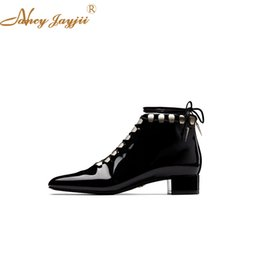 famous high heels brands Promo Codes - Famous Brand Size 37 38 Metal 30mm Square Toe Genuine Cow Leather Autumn Ankle Boots Women Black Lace Up Med High Heels Shoes
