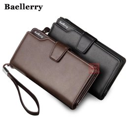 Wholesale Big Bags Men - Men Wallets Top Quality Male Clutch Big Capacity Cellphone Bag Leather wallet men purse Zipper Pocket Man Purse Long Baellerry