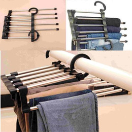 Wholesale Trouser Racks - Househole Hooks Stainless Steel Tube Hanging Pants Rack Closet Trouser Extends Organize Clothes Hangers