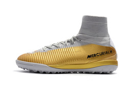 cr7 rasen schuhe Rabatt Cristiano Ronaldo Turf Fußballschuhe Original Gold Weiß CR7 Fußballschuh Mercurial Superfly V Hochwertige Indoor Fußballschuhe