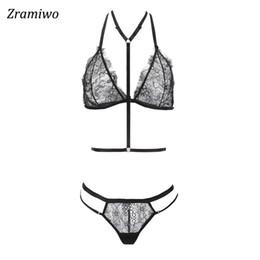 2cbddede8b black sheer bra UK - Zramiwo Women Lace Bra Set Harness Bra and Panty Sexy  Lingerie