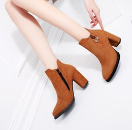high heels decorations 2019 - woman Martin boots sexy Zip Crystal decoration  Suede Boots Sharp head fe896ed0f948