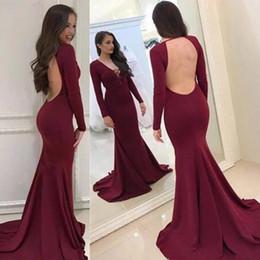 1d2d347d11 Envío gratis 2019 nuevo atractivo barato rojo oscuro borgoña vestido de  fiesta de la sirena larga formal de graduación sin respaldo manga larga  vestido de ...