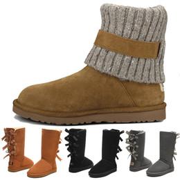 Meio preto do deslizamento on-line-UGG Baratos Mulheres de Inverno da Austrália Clássico ajoelhar metade Botas Ankle boots Preto cinza castanha marinha azul vermelho Mulheres menina botas tamanho eur 36-41