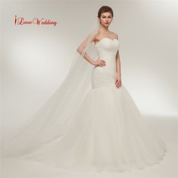 Wholesale married pictures - 2018 White Ivory Merimaid Wedding Dress Sweetheart Neckline Ruched Tulle Bridal Gowns Cheap Woman Marry Trumpet Dresses Free Shipping