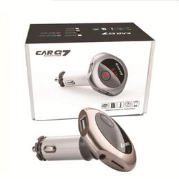 entrada aux para carro Desconto Q7 Transmissor FM Sem Fio Bluetooth Handsfree Transmissor FM MP3 Player Kit Carro Com Dual USB Car Charger AUX Entrada Slot Para Cartão TF