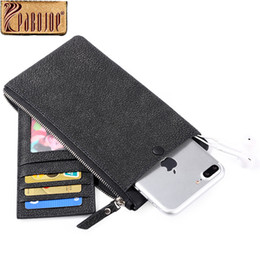 Wholesale Mens Orange Wallet - Pabojoe Mens Wallet Genuine Cow Leather Long Thin Clutch Bag Zipper Coin Purses Phone Case Travel Holder