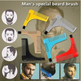 Wholesale trim combs - Beard Bro Beard Shaping Tools with Brush Styling Template Shaping Combs for Hair Beard Trim Template Models Moustache Combs CCA9401 60pcs