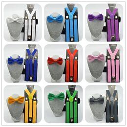 Wholesale red suspenders men - Unisex Adjustable Clip-on Braces Elastic Y-back Suspender and bow ties set for women   men wedding party