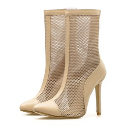 78e9963338b Wholesale sexy mesh high heels - Women Sandals Ladies Party Shoes Mesh  Hollow out Shoes sexy