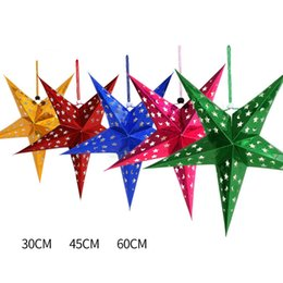 Wholesale Paper Gold Stars - 3 Size Multicolor Paper Star Ornaments Christmas Lampshade Decoration Home Christmas Party New Year Party Supplies 1PC