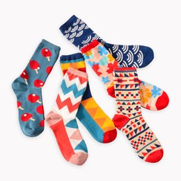 Wholesale British Coupling - 1 Dozen   12 pairs Fashion Happy Socks British Wind Geometric Hit Color Personality Couple Male Cotton Sox Men Socks Calcetines