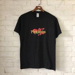 Wholesale Pleasures Women - Summer Style Rose& Skull Pleasure Printed Women Men T shirts tee Hiphop High Streetwear Men Cotton T shirt 2018