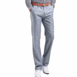 Wholesale blue linen pants - 2018 Men Summer Linen Casual Pants Stretch Flax Cotton Casual Trousers Size 29-38 5 colors Men's Clothing
