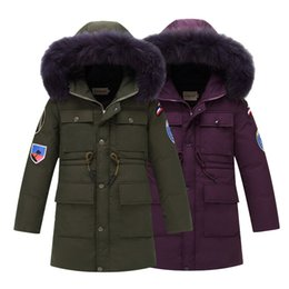 Wholesale fur coat models - 2017 Fashion Long model Children Down Jackets coat winter fur Big boy Coat thick duck Down feather jacket Outerwear for-40degree