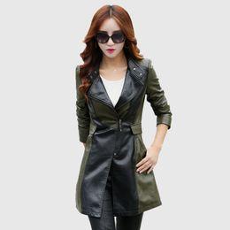Wholesale Leather Motorcycle Jacket Small - 2018 spring autumn women high quality leather clothing jacket long design plus size female slim fashion motorcycle leather coat