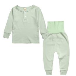 Wholesale Boys Pyjamas Cotton - Autumn Long Sleeve Children's Pajamas Sets Solid Girls Boys Sleepwear Kids Clothes Soft Cotton 1-5T Baby Boy Girl Pyjama Sets