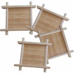 Tampon isolant en bambou en Ligne-Set de thé en bambou sous-verre en bois ensemble de thé porte-tasse support d'isolation de la chaleur soucoupe plat pad cuisine Kungfu thé place sous forme de plateau