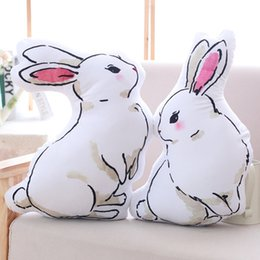 Wholesale Bunny Pillow - Plush White Rabbit Cushion 45cm Stuffed Rabbit Pillow Both Sides Printing Simulation Plush Bunny Bolster Toy Rabbit Decor Doll FANTASY17