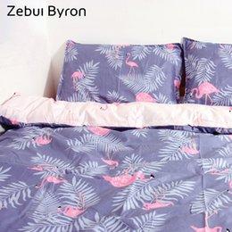 Wholesale Green King Size Quilt Sets - Zebui Byron Bedding Set Russian size King Queen Single 140*200 Luxury Quilt Duvet Cover Set Bed Sheet Bedclothes Flamingos