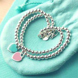 Wholesale heart shaped ornaments - 925 Sterling Silver Blue Enamel Heart-shaped Pendant BRACELET Round Buddha Beaded Bracelet Women's Ornament Jewelry Wedding Gift