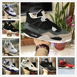 Wholesale Clear Fire - 2018 Men 4s Basketball shoes 4 Military Motosports blue Alternate 89 Pure Money White Cement Royalty bred Fire Red Black Cat oreo sneakers