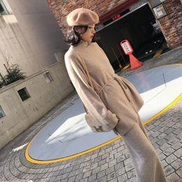 Pantaloni del maglione delle donne regolato online-GETSRING Set da donna in maglione di lana con pantaloni larghi in cashmere vestito Set da 2 pezzi con collo dolcevita in pelle da donna in due pezzi