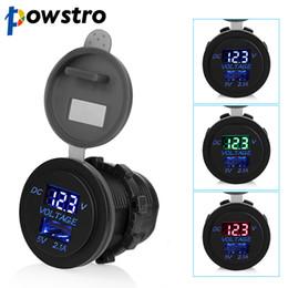 2019 usb-порт зарядки usb Powstro 5 в 2.1 A USB порты автомобильное зарядное устройство напряжение и ток дисплей автомобиля автомобильная розетка адаптер водонепроницаемый зарядки для телефона скидка usb-порт зарядки usb