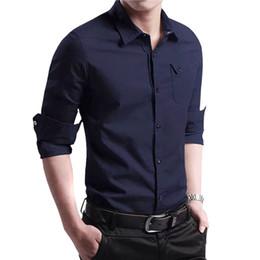 2019 camisas de bolso duplo homens Nova Primavera Outono M-4XL Homens Camisa de Manga Longa Blusa 100% Algodão ePaulet Dupla Bolso Qualidade Camisa de Moda camisas de bolso duplo homens barato